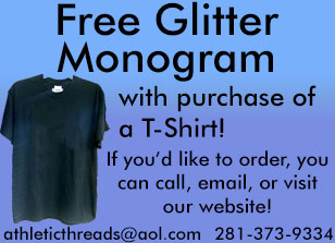 Athletic Threads Glitter Monogram Promotion